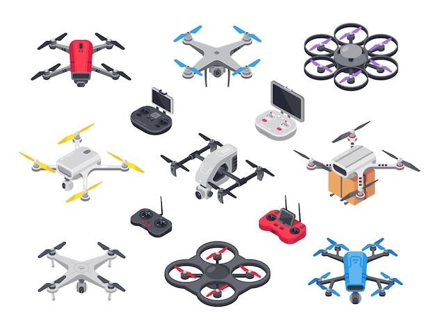 Télécommande de l'hélicoptère avec caméra Vecteur Premium