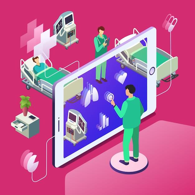 Télémédecine isométrique, concept de technologie de soins de santé en ligne. Vecteur gratuit