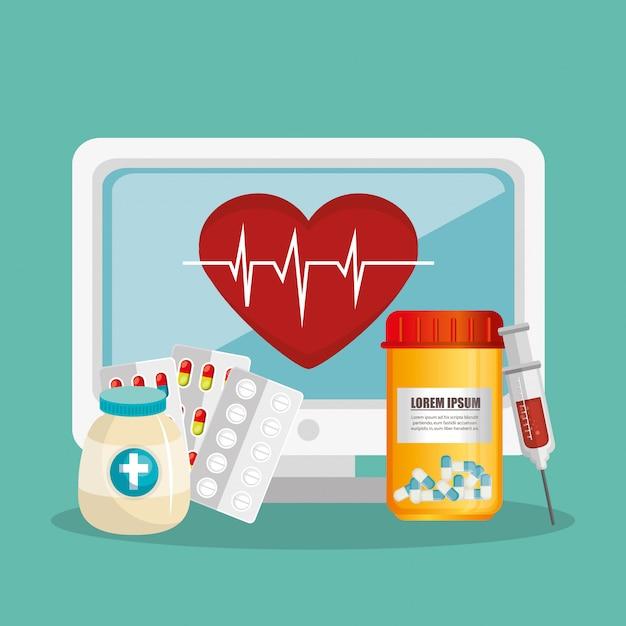 Télémédecine en ligne avec ordinateur de bureau Vecteur Premium