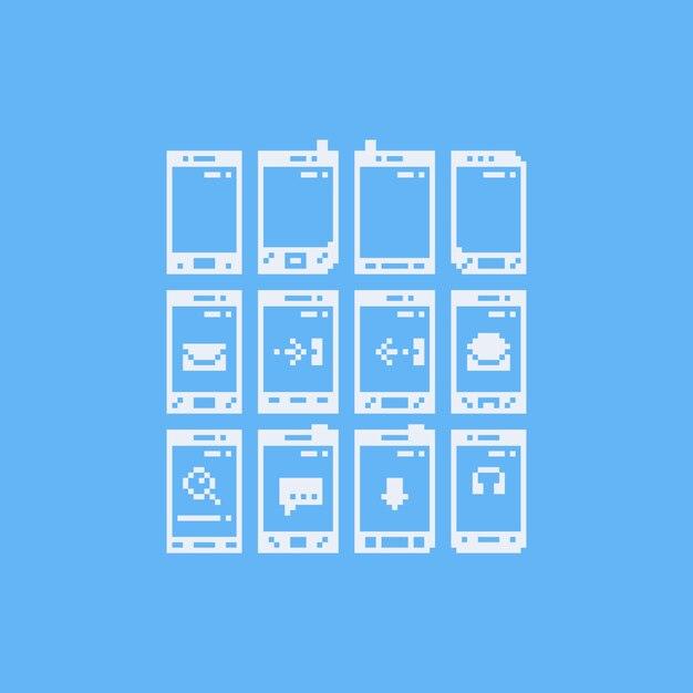 Téléphone d'art de pixel avec jeu d'icônes de notification Vecteur Premium