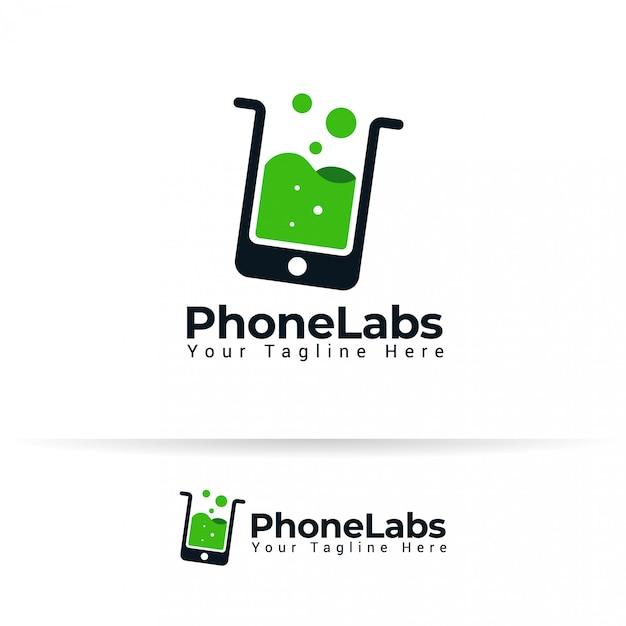 Téléphone cas gadget smartphone accessoires labs lab tube logo liquide. vecteur Vecteur Premium