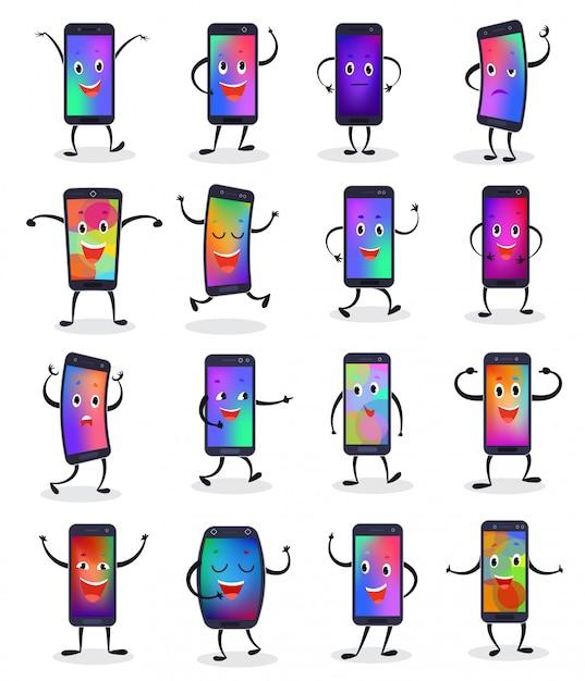 Telephone Emojji Vecteur Smartphone Emoticone Caractere Et Telephone Portable Ou Telephone Portable Expression Vecteur Premium