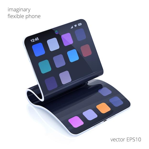Téléphone Flexible Imaginaire. Smartphone De Vecteur Réaliste 3d. Présentoir Pliable Et Mince Boîtier élastique. Vecteur Premium