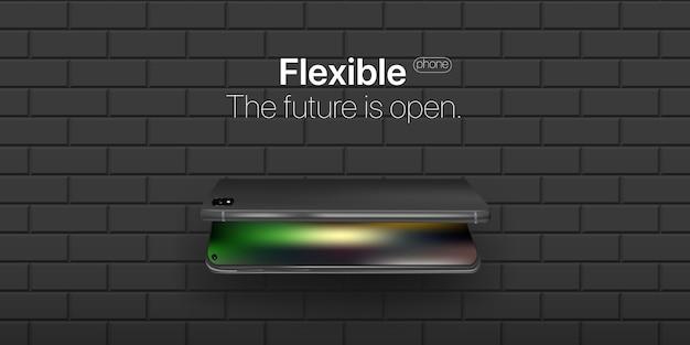 Téléphone flexible. nouvelle technologie dans les industries du téléphone. affichage flexible du téléphone portable penché sur le mur. Vecteur Premium