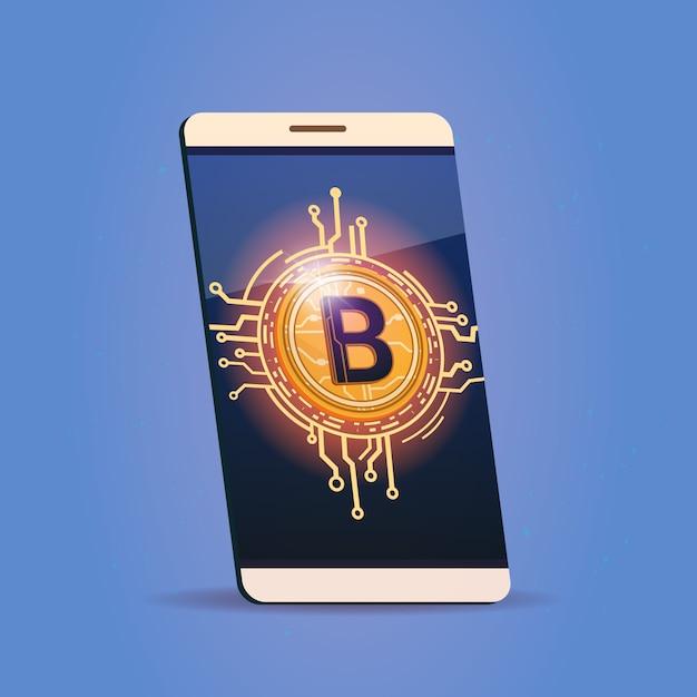 Téléphone intelligent cellulaire avec icône bitcoin digital web money crypto currency concept Vecteur Premium