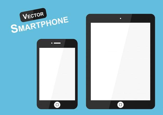 Téléphone intelligent sur fond bleu Vecteur Premium