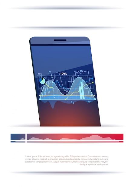 Téléphone intelligent moderne avec des graphiques et des graphiques modèle lieu de bannière pour le texte Vecteur Premium