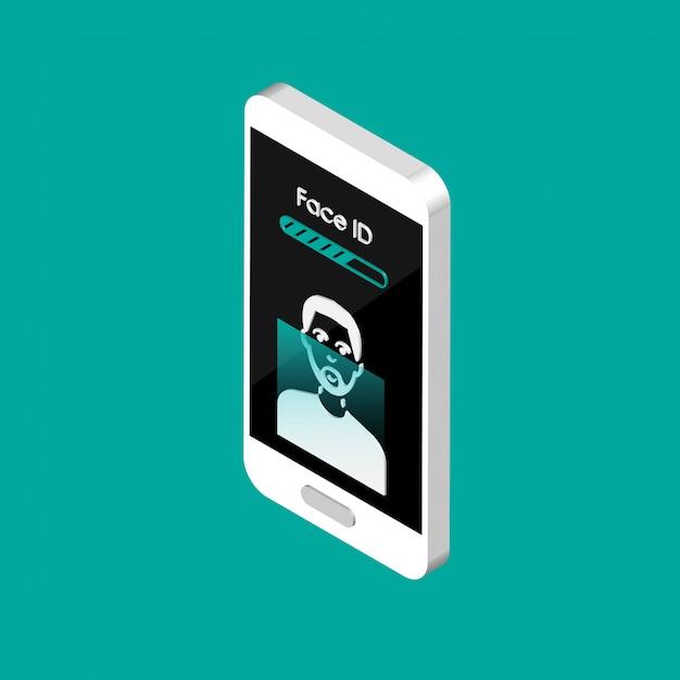 Téléphone Isométrique Avec Des Icônes D'identification De Visage à L'écran. Icônes De Processus De Numérisation De Visage 3d. Signes Du Système De Reconnaissance Faciale. Détection Faciale Et Symboles De Sécurité D'accès. Vecteur Premium
