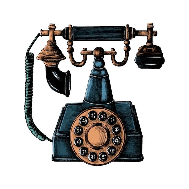 Téléphone de ligne rétro dessiné à la main Vecteur gratuit