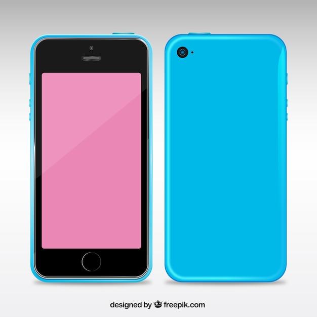 Téléphone mobile avec un boîtier bleu Vecteur gratuit
