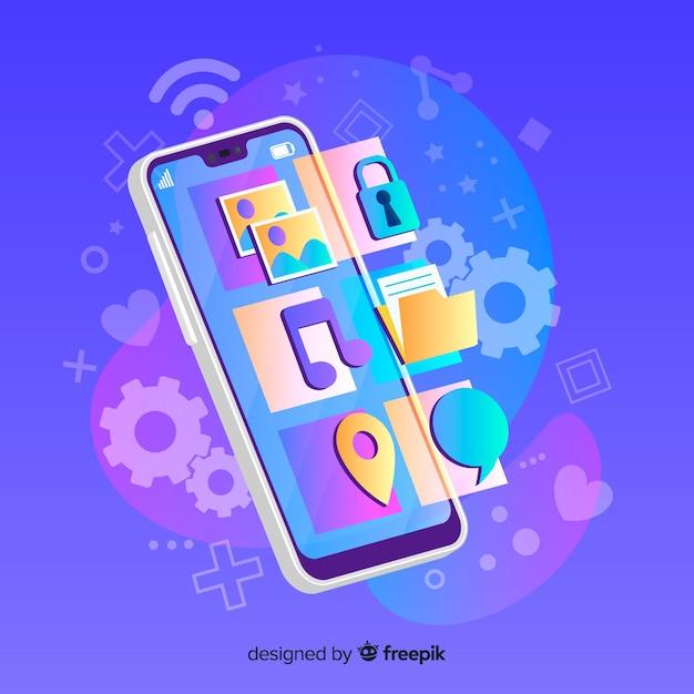 Téléphone mobile projetant des applications depuis l'écran Vecteur gratuit