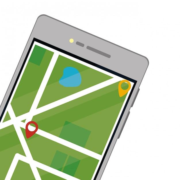 Téléphone portable avec carte Vecteur Premium