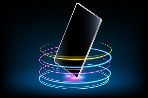 Téléphone portable avec effet glow Vecteur Premium
