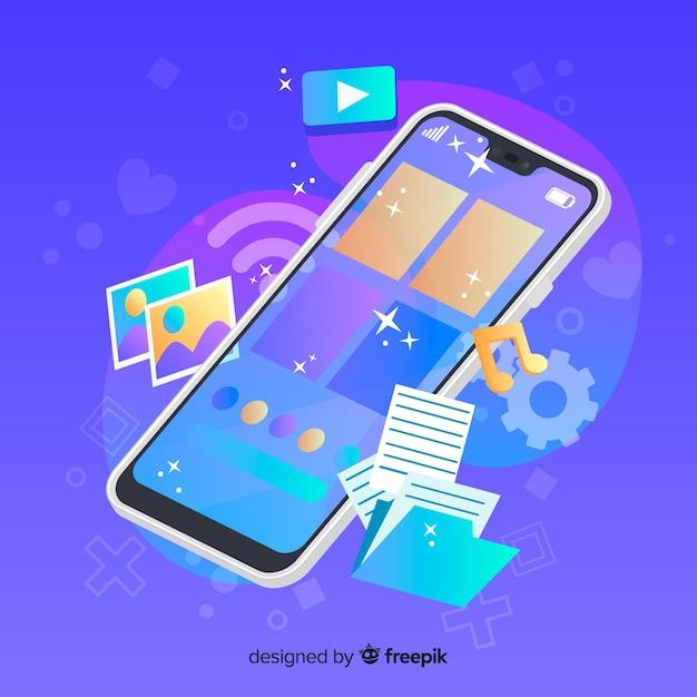 Téléphone portable avec icônes médiatiques à côté Vecteur gratuit