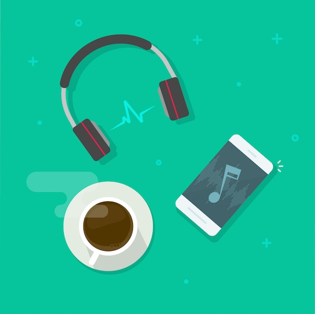 Téléphone portable jouant de la musique via cartoon plat illustration de vecteur sans fil casque Vecteur Premium