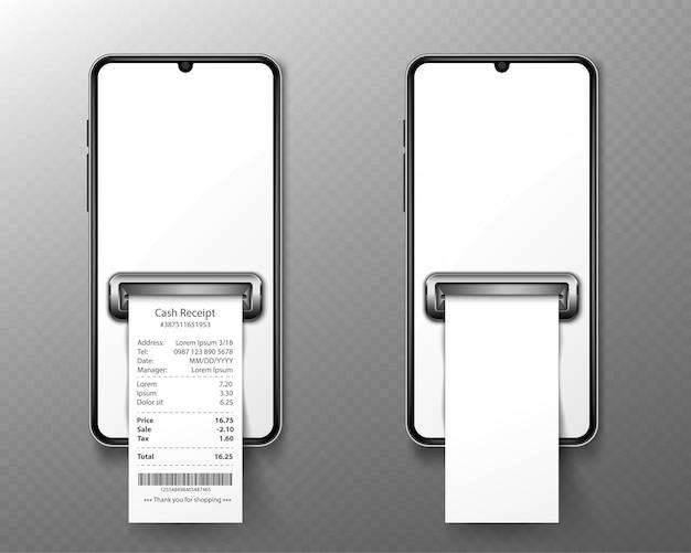 Téléphone Portable Avec Reçu De La Boutique En Vue De Face. Vecteur gratuit