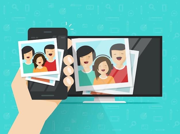 Téléphone portable ou téléphone portable connecté à la télévision montrant des images de dessin animé à plat Vecteur Premium