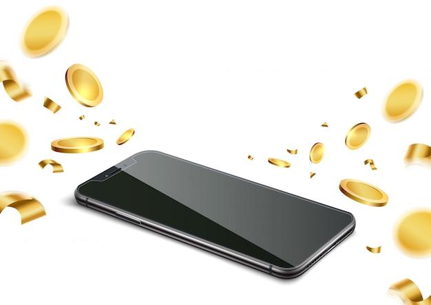 Téléphone Réaliste Avec Des Pièces D'or Pour La Conception De Jeux De Hasard Vecteur Premium