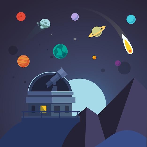 Le télescope est assis dans un dôme d'observatoire ouvert Vecteur gratuit