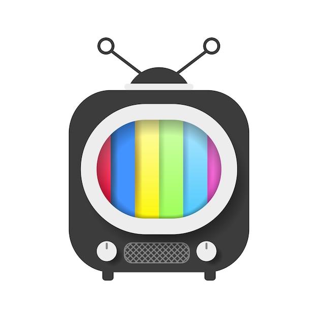 Téléviseur rétro avec illustration vectorielle d'écran couleur Vecteur Premium
