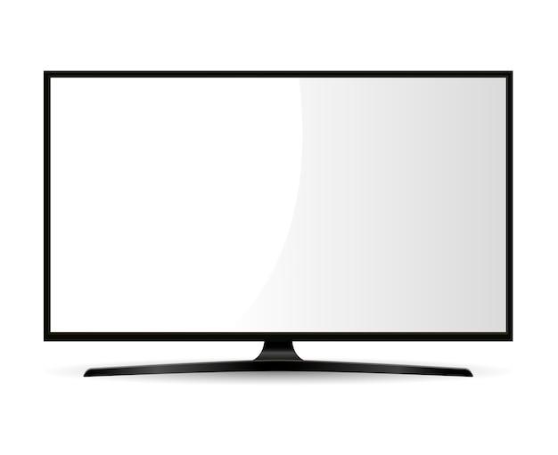Télévision noire avec écran blanc. moniteur large. Vecteur Premium