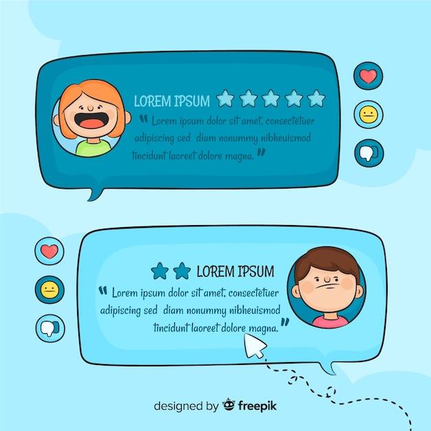 Témoignage de bulle de dialogue dessiné à la main Vecteur gratuit