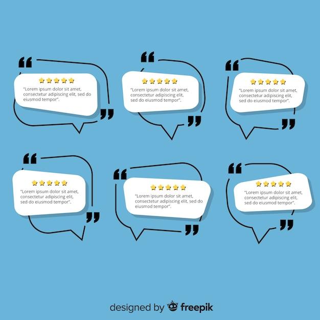 Témoignage créatif dans la conception de bulles de dialogue Vecteur gratuit