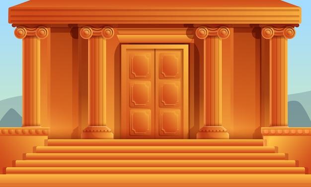 Temple Grec De Dessin Animé Avec Des Colonnes, Illustration Vectorielle Vecteur Premium
