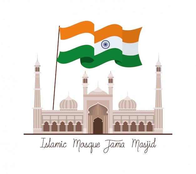 Temple indien jama masjid avec drapeau Vecteur gratuit