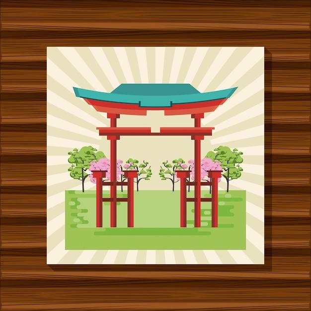 Temple japonais dans la nature Vecteur Premium