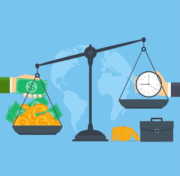 Temps et argent sur des échelles, gens d'affaires de concept Vecteur Premium
