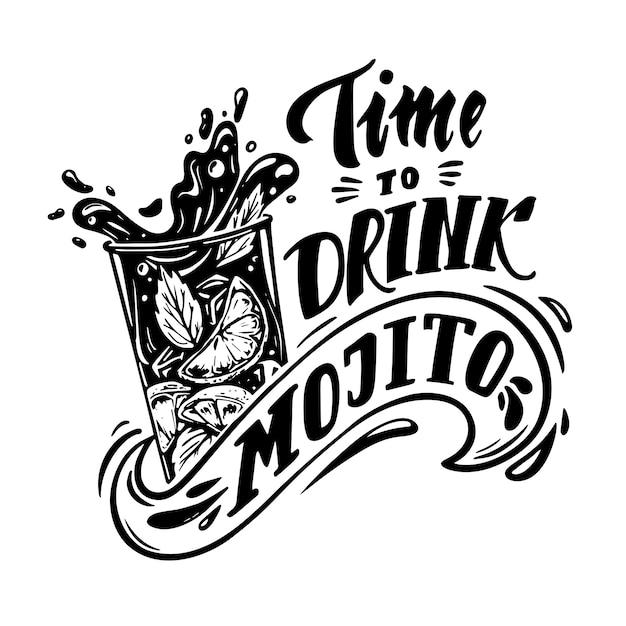 Temps De Boire Du Mojito Vecteur Premium