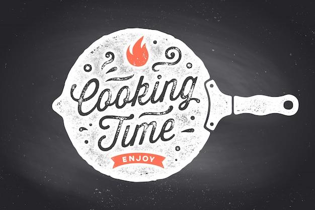 Temps De Cuisson. Affiche De Cuisine. Décoration Murale De Cuisine, Signe, Devis Vecteur Premium