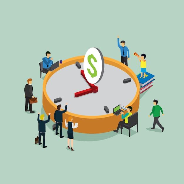 Le temps c'est de l'argent dans le travail avec le concept isométrique Vecteur Premium