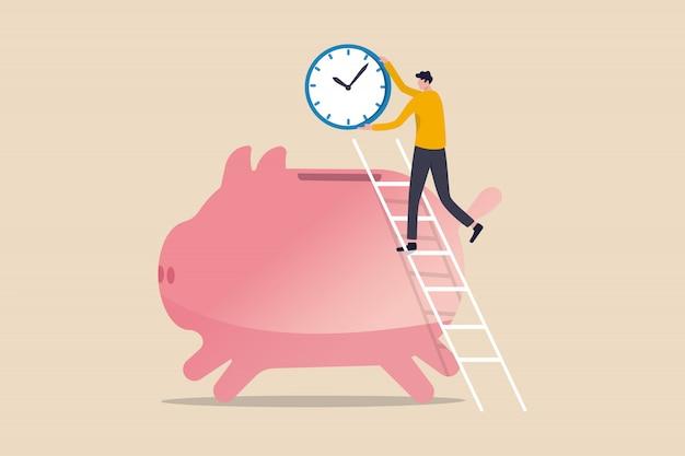 Le Temps C'est De L'argent, Les Gens Paient De L'argent Pour Acheter Le Temps Le Plus Important Pour Le Succès Dans Le Concept D'objectifs Financiers, L'homme Du Succès à L'aide D'une échelle Pour Grimper Et Tenir Une Grande Horloge Ou Une Montre Placée Dans Une Tirelire Rose Vecteur Premium