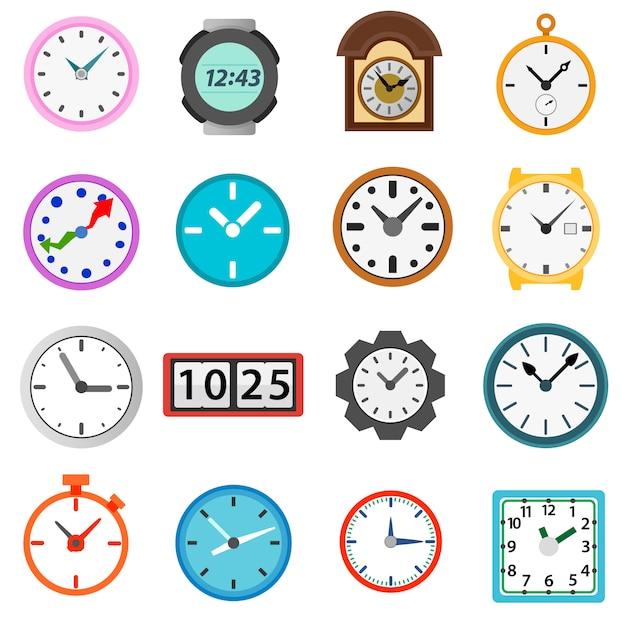 Temps et horloge icônes définies Vecteur Premium