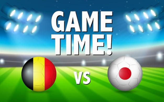 Temps de jeu belgique vs japon Vecteur gratuit