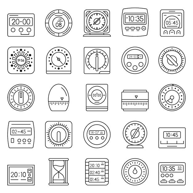 Temps jeu d'icônes de mesure. ensemble de contour des icônes vectorielles du temps mesure Vecteur Premium