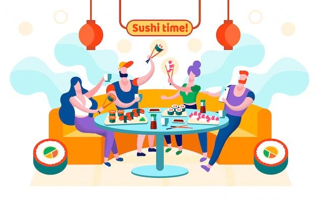 Le Temps Plat Sushi Est écrit Illustration Vectorielle. Vecteur Premium