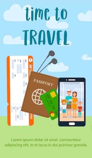 Temps de voyager lettrage sur flyer vertical plat. Vecteur Premium