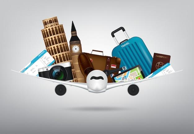 Temps de voyager avec des objets réalistes en 3d tels que, appareil photo, passeport, boussole, bloc-notes, valise Vecteur Premium