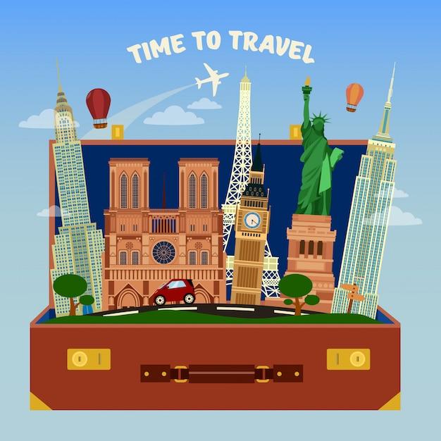 Temps de voyager. valise pleine de lieux de renommée mondiale avec avion dans le ciel Vecteur Premium