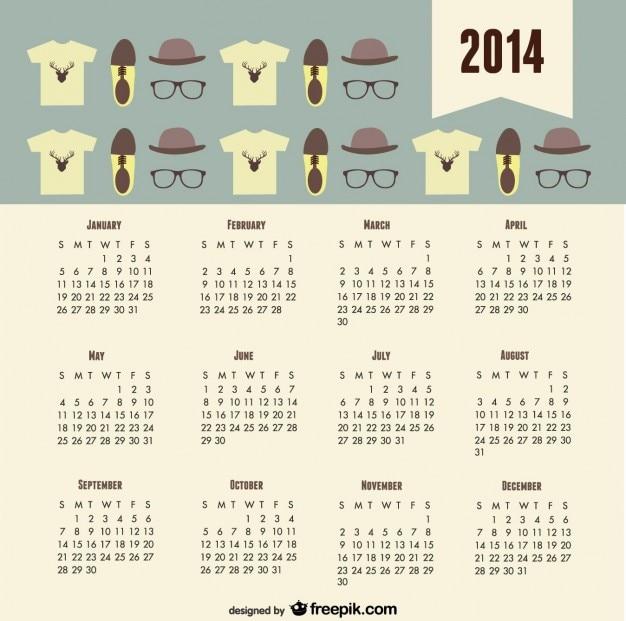 Tendance 2014 calendrier de la mode hippie oeil Vecteur gratuit