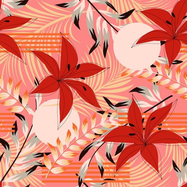 Tendance abstraite modèle sans couture avec des fleurs et des feuilles tropicales colorées Vecteur Premium