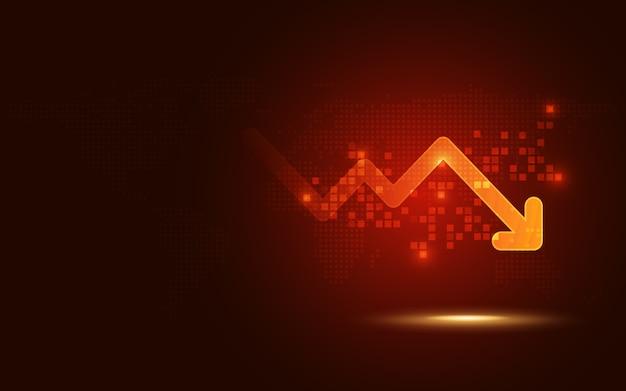 Tendance du signal rouge futuriste descendre flèche fond graphique technologie abstraite Vecteur Premium