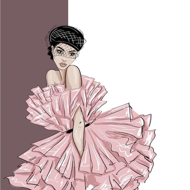Tendre femme en béret avec voile et robe bouffante Vecteur Premium