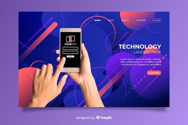 Tenir la page d'atterrissage de la technologie téléphonique Vecteur gratuit