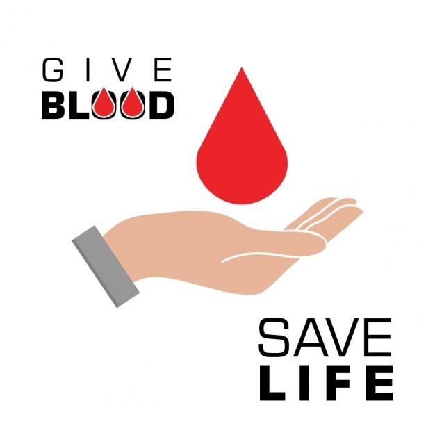 Tenir le sang dans la main sauver concept de sang Vecteur gratuit