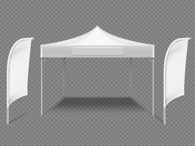 Tente Blanche En Plein Air Avec Des Drapeaux De Plage Vecteur Premium