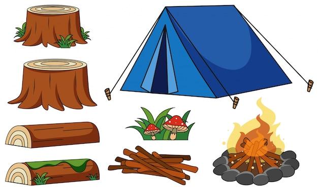 Tente bleue et feu de camp sur fond blanc Vecteur gratuit